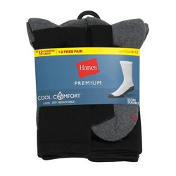 Hanes Premium Men's Crew Socks 10+2pk - 6-12