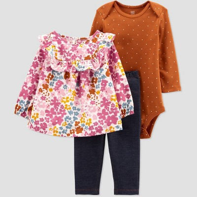 Baby Girls' Floral Top & Bottom Set - Just One You® made by carter's Rust Red/Pink/Black 3M