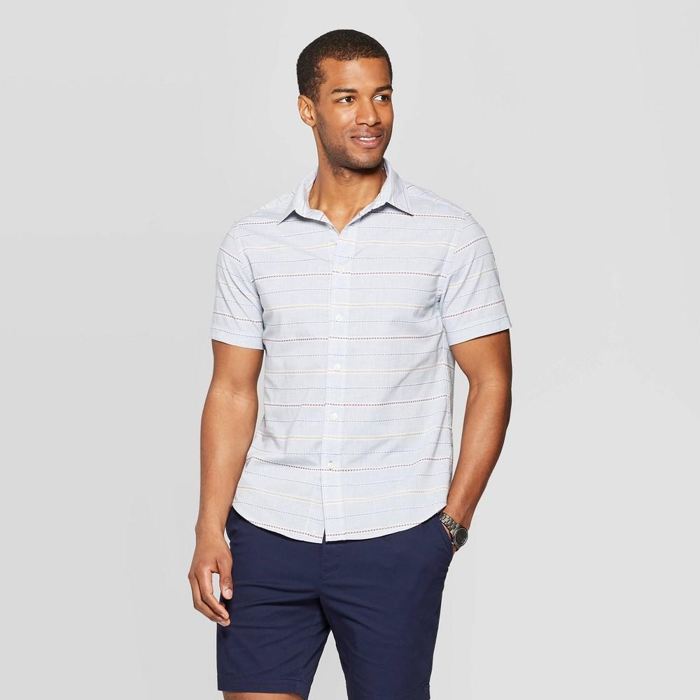Men's Jacquard Short Sleeve Novelty Button-Down Shirt - Goodfellow & Co Horizon Blue S, Size: Small was $19.99 now $12.0 (40.0% off)