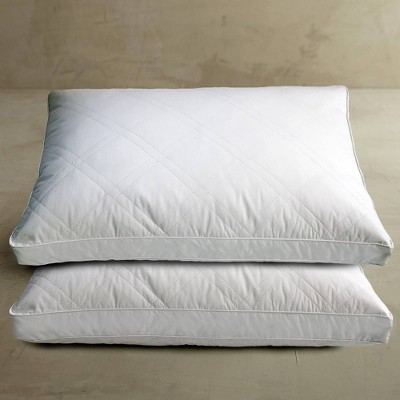 Cotton Quilted White Goose Feather and Down Pillow 2pk White - Blue Ridge Home Fashions
