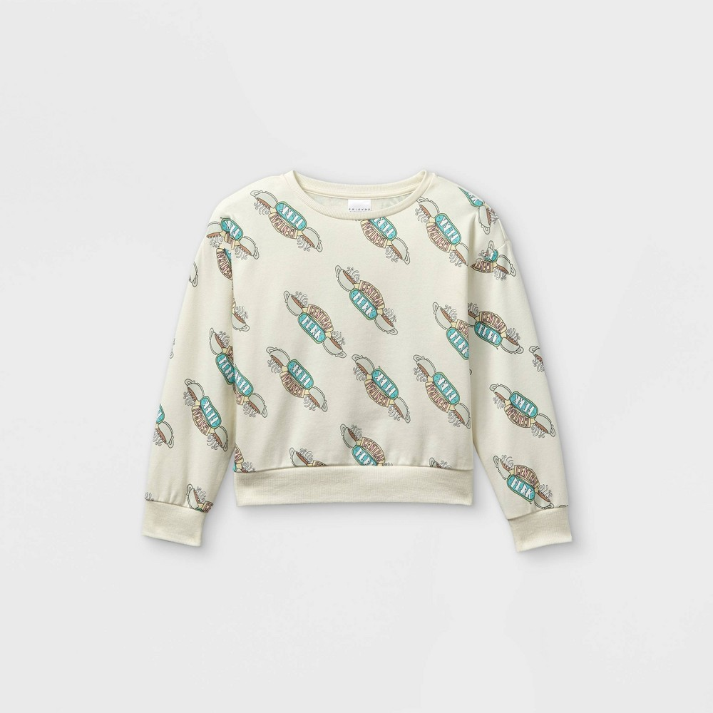 Girls 39 Central Perk Cropped Pullover Sweatshirt Off White L Plus