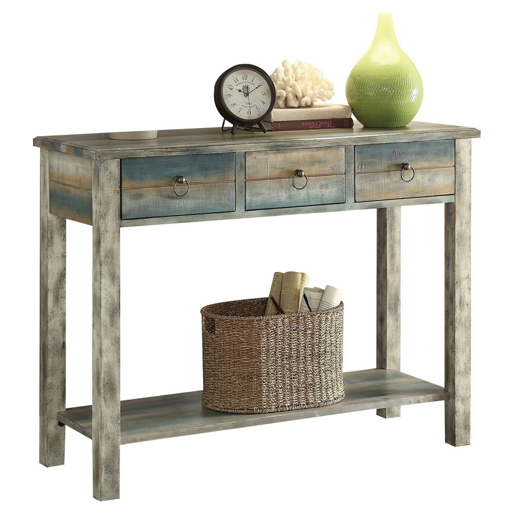 Console Table Oak (Brown) Teal
