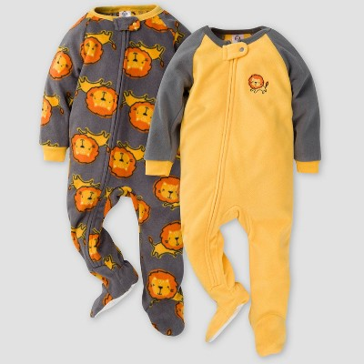 Gerber Baby Boys' Lion Blanket Sleeper Footed Pajama - Dark Gray/Yellow 6M