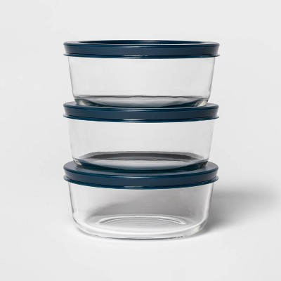 2 Cup 3pk Round Food Storage Container Set Navy - Room Essentials™