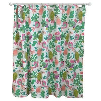 Parakeet Paradise Shower Curtain Bright Fern - Pillowfort™