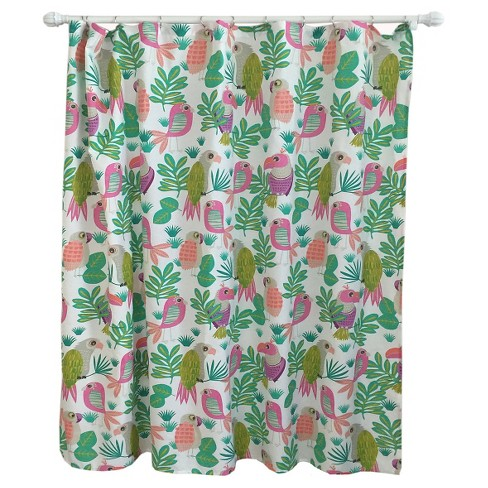 Parakeet Paradise Shower Curtain Bright Fern - Pillowfort™ - image 1 of 2