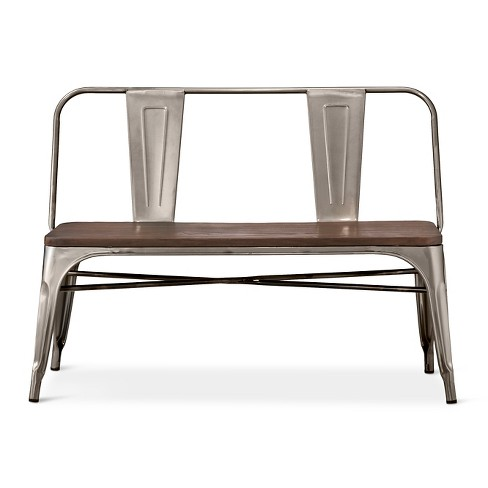 Carlisle Metal Dining Bench With Wood Seat Natural Metal