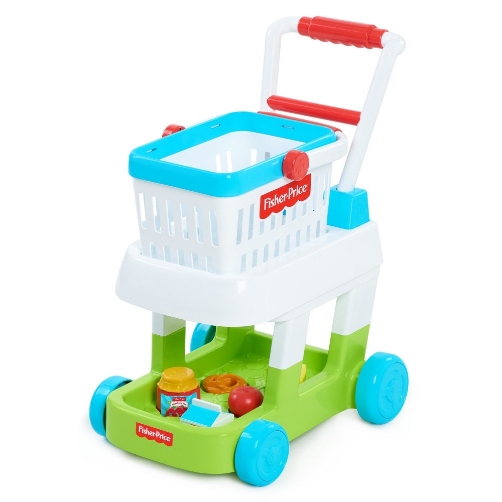 Fisher-Price Shopping Cart Fisher Price is the # 1 trusted brand by moms and now kids can pretend to go grocery shopping with the Fisher-Price Shopping Cart! The Fisher-Price Shopping Cart features a removable basket and shape and number shorter! Playset also includes one milk carton, one play apple, cheese, pretzel and jelly. You can even help kids with problem solving and memory by asking them to help you complete your grocery list. Kids will also learn shape and number recognition by placing items in cart's shape sorter. The Fisher Price Shopping Cart is a great toy to help kids learn cognitive, educational and developmental skills through real life scenarios! Ages 3+ Gender: Unisex.
