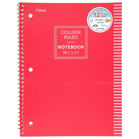 Mead 1 Subject College Ruled Spiral Notebook Pink - image 1 of 4