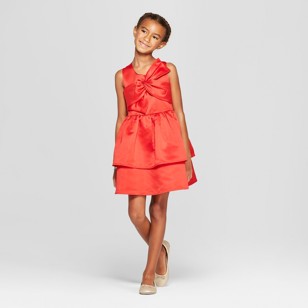 Girls' Satin Dress with Bow - Cat & Jack Red M