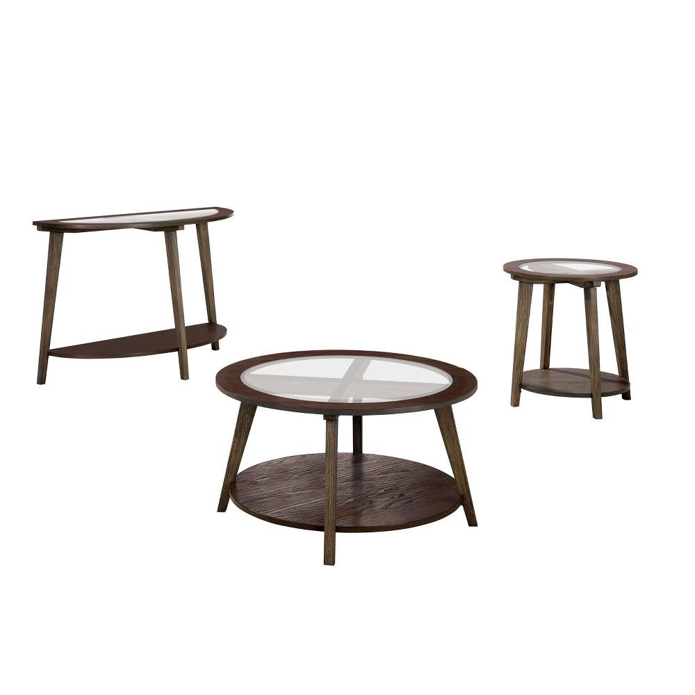 Cheap 3pc Nicolina Coffee Table Set Dark Oak - miBasics