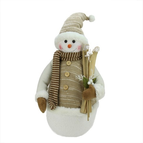 """Northlight 20"""" White Snowman with Skies and Mistletoe Christmas Tabletop Figurine - image 1 of 1"""