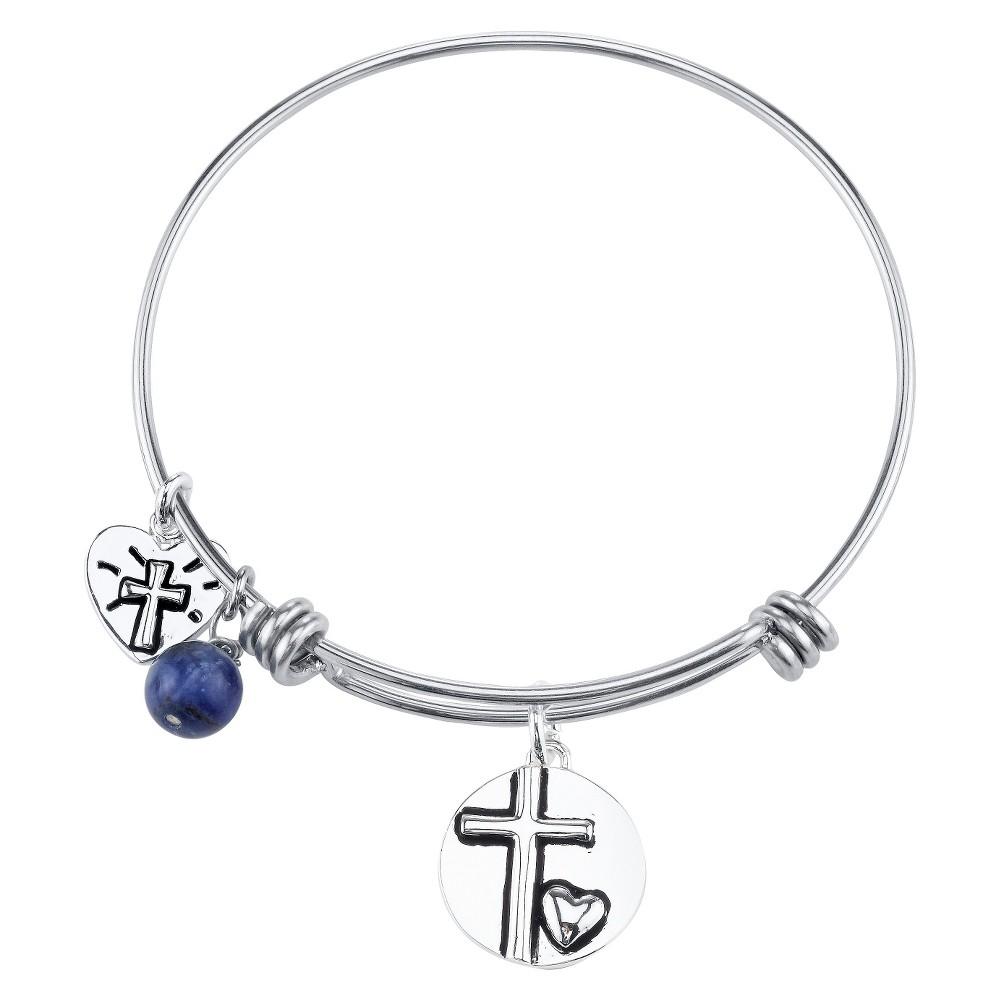 Stainless Steel Cross Charm Expandable Bracelet - 8, Women's, Silver
