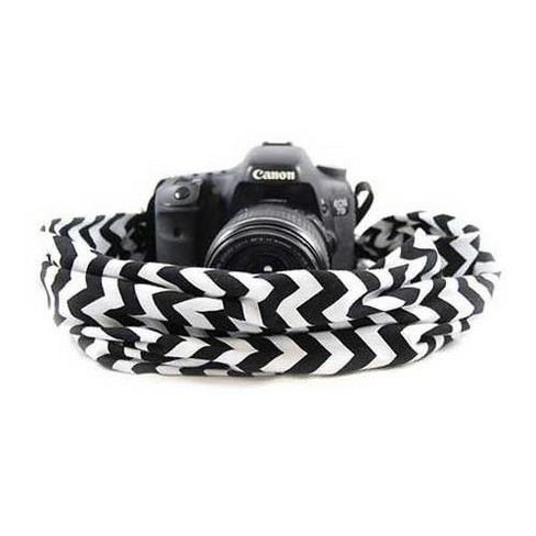 Capturing Couture Scarf DSLR Camera Strap, Chevron Black and White - image 1 of 4