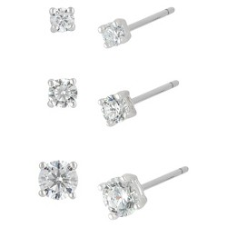 Women's Sterling Silver Stud Earrings Set with 3 Pairs of Round Cubic Zirconia - A New Day™ Silver