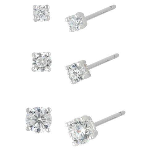 Women's Sterling Silver Stud Earrings Set with 3 Pairs of Round Cubic Zirconia -Silver - image 1 of 1