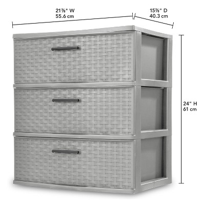 Sterilite Wide 3 Drawer Weave Tower Cement Gray : Target