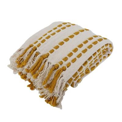 "50""x60"" Wanda Woven Throw Blanket with Border Fringe Trim Yellow - Decor Therapy"