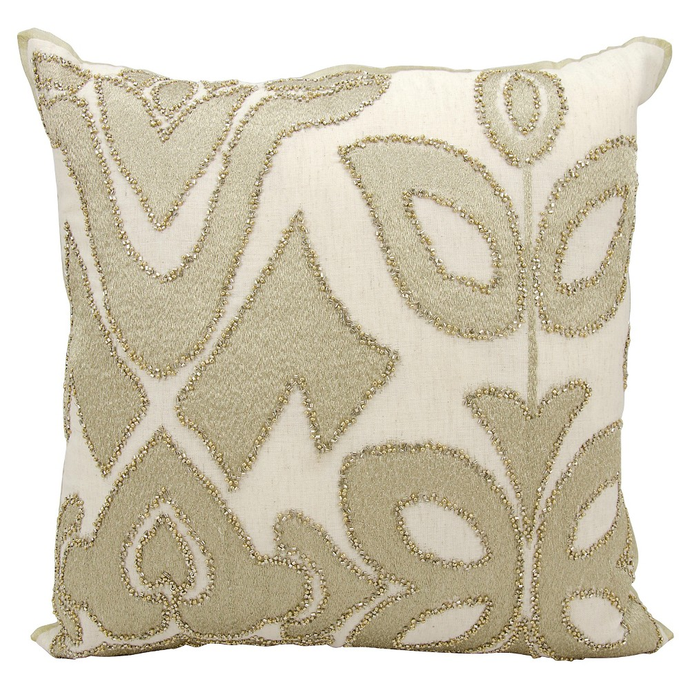 "Image of ""Gold Organic Collage Throw Pillow (20""""x20"""") - Nourison, Gold White"""