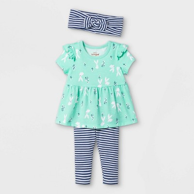 Baby Girls' Bunny Top & Bottom Set with Headband - Cat & Jack™ Green
