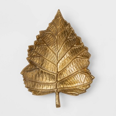 "14"" x 10"" Metal Leaf Serving Tray Gold - Threshold™"