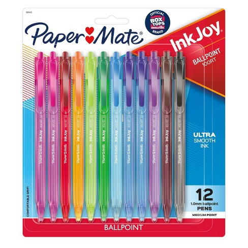 Paper Mate Inkjoy 100RT Retractable Ballpoint Pen, 1mm, 12ct - Multicolor Ink - image 1 of 4