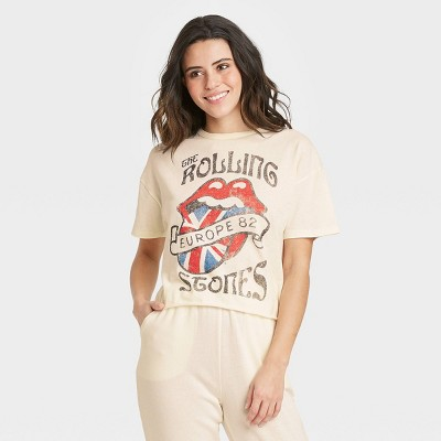 Women's Rolling Stones Europe 82 Short Sleeve Cropped Graphic T-Shirt - Beige