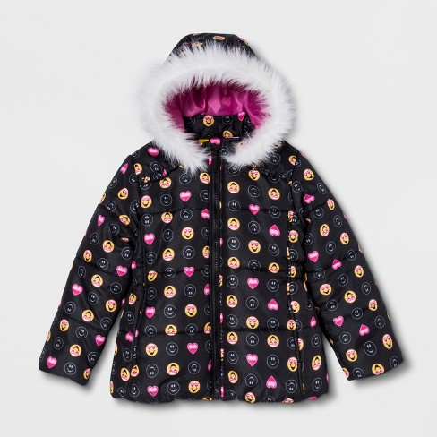 Girls' Emoji Puffer Jacket - Black - image 1 of 3