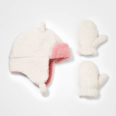 Toddler Girls' 2pk Ear Fleece Trapper with Mittens - Cat & Jack™ Cream 12-24M