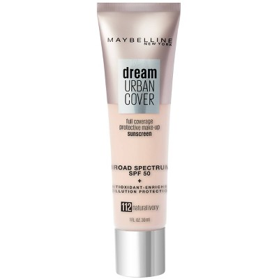 Maybelline Dream Urban Cover Full Coverage Foundation SPF 50 with  Antioxidant Enriched + Pollution Protection - 1 fl oz
