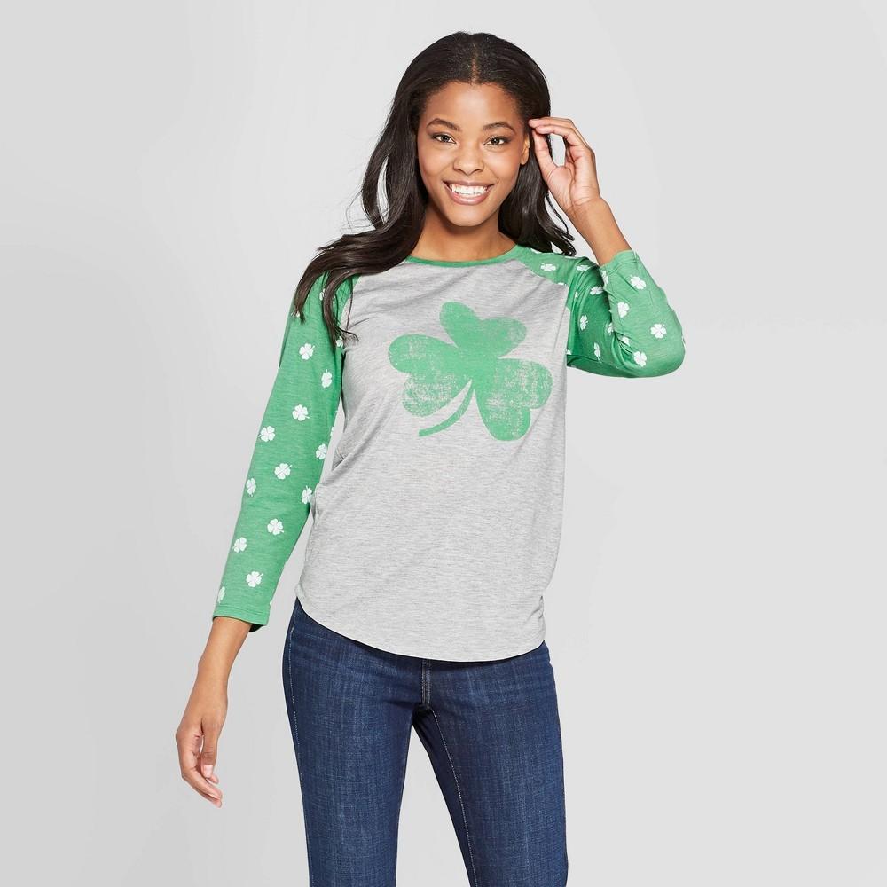 Women's 3/4 Sleeve Four Leaf Clover Raglan Graphic T-Shirt - Grayson Threads (Juniors') - Gray S