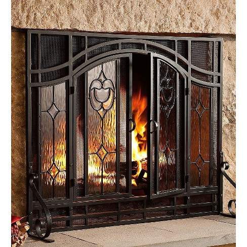 Plow Hearth 2 Door Floral Fireplace Fire Screen With Beveled Glass Panels Black Target