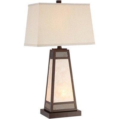 Franklin Iron Works Mission Rustic Table Lamp with Nightlight Bronze Natural Mica Glass Panel Rectangular Shade for Living Room