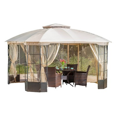 Westerly 13' x 13' Steel Patio Gazebo - Camel - Christopher Knight Home
