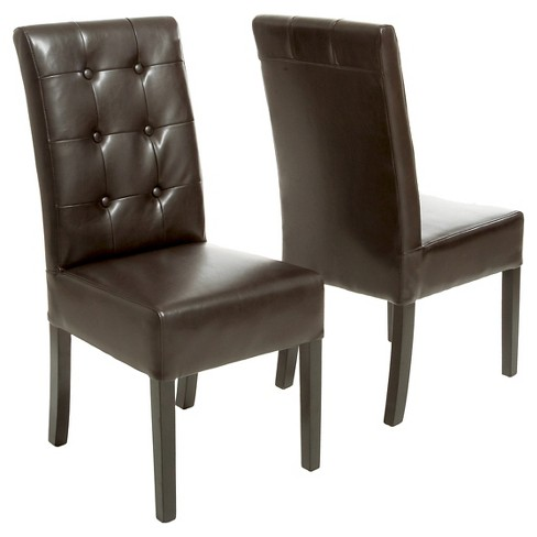 Jace Button Tufted Leather Dining Chair Brown Set Of 2