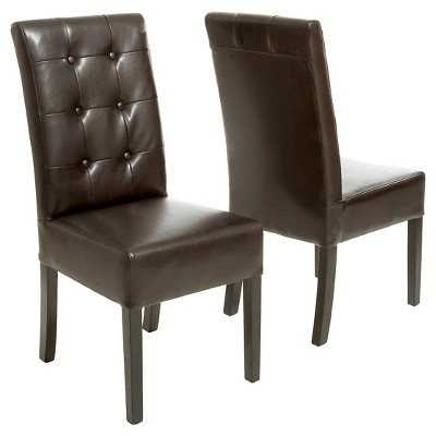 Jace Button Tufted Leather Dining Chair Brown (Set Of 2)   Christopher  Knight Home