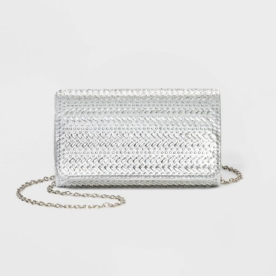 Estee & Lilly Crystal Snap Flap Closure Clutch - Silver