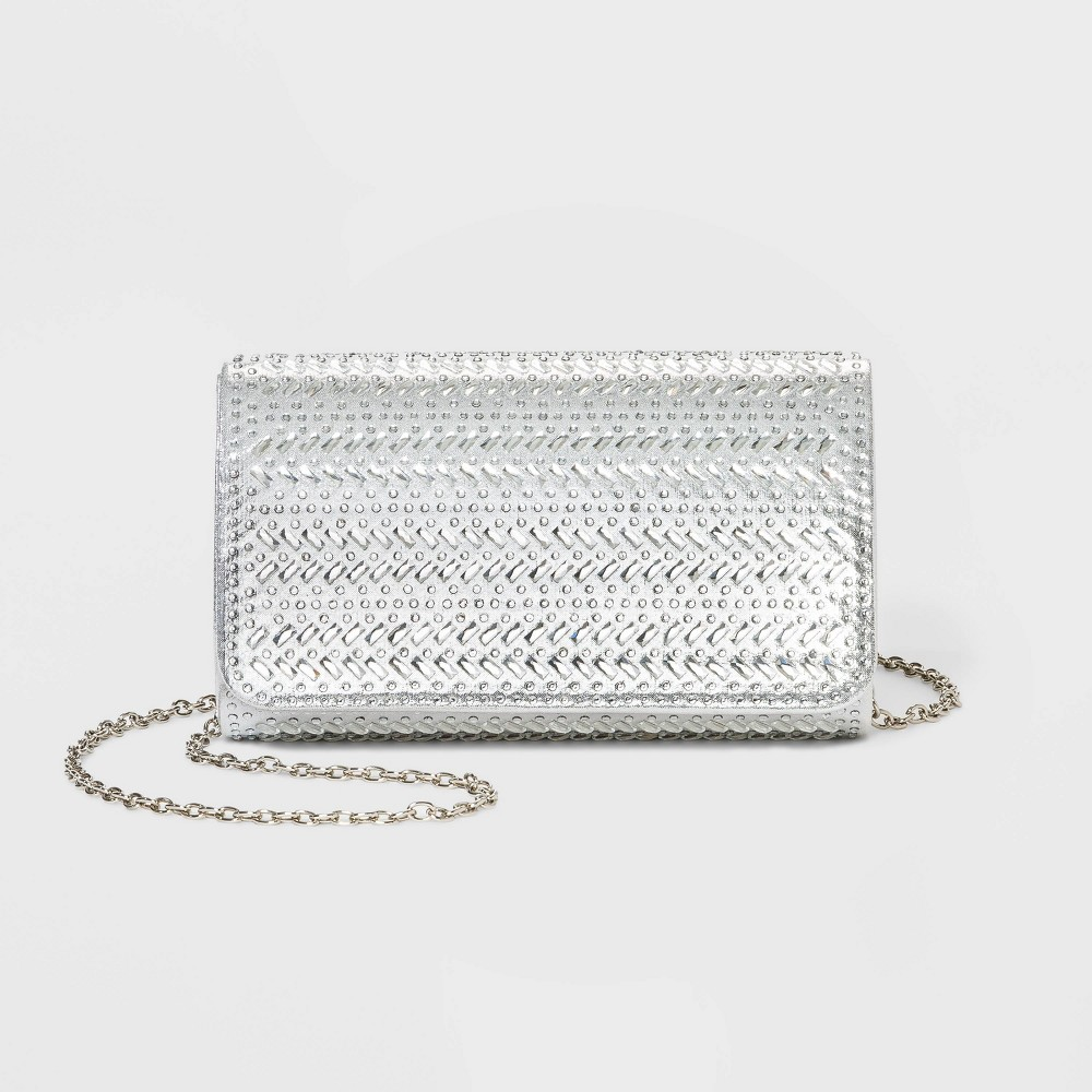 Image of Estee & Lilly Crystal Flap Clutch - Silver