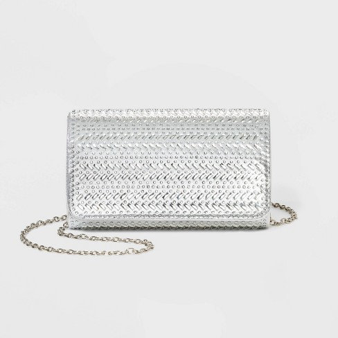 Estee & Lilly Crystal Flap Clutch - Silver - image 1 of 3