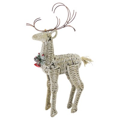 """Northlight 26"""" Ivory and Brown Reindeer Twine Christmas Decoration"""