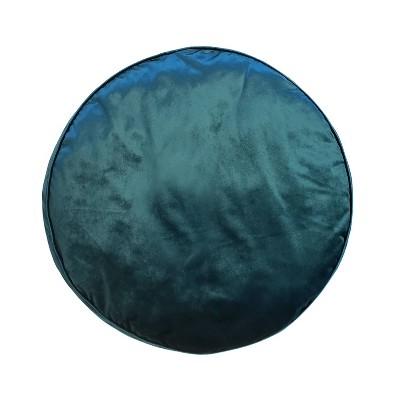 "24"" Panne Velvet Floor Round Pillow Teal - Edie@Home"