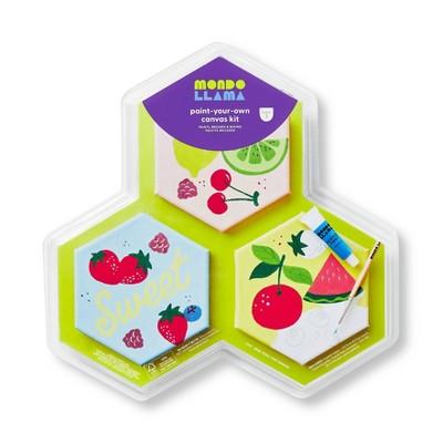 3ct Paint-Your-Own Hexagon Canvas Kit Fruit - Mondo Llama™
