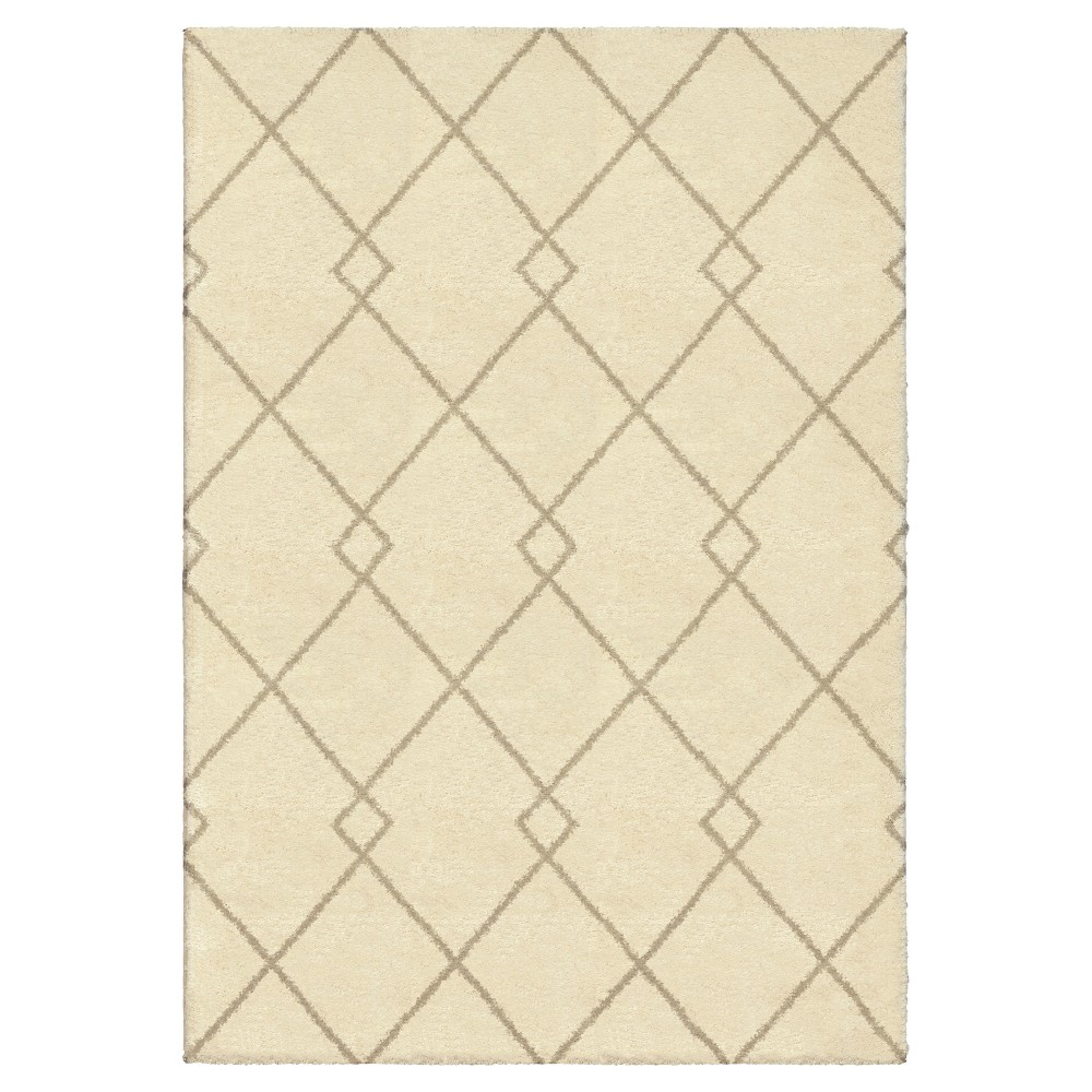 Ivory Abstract Woven Area Rug - (5'3