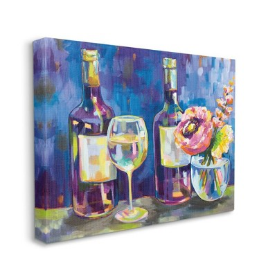 Stupell Industries Party Drinks and Flowers Blue Purple Modern Painting