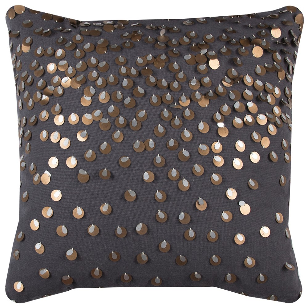 Image of Rizzy Home Sporadic Sequins In Copper And Silver Throw Pillow Black
