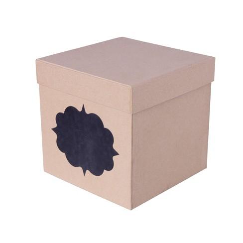 Chalk Label Gift Box Brown - Spritz™ - image 1 of 1