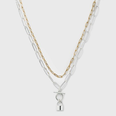 Multi-Plated Lock 2 Row Paperclip Chain Necklace - A New Day™