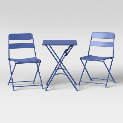 3pc Metal Slat Patio Bistro Set - Blue - Room Essentials™