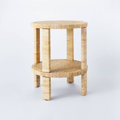 Costa Mesa Round Rattan Wrapped Accent Table Tan - Threshold™ designed with Studio McGee