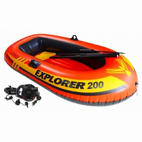 Intex Explorer 200 Inflatable Two Person Raft Boat Set w/ Quick-Fill AC Air Pump - image 1 of 4